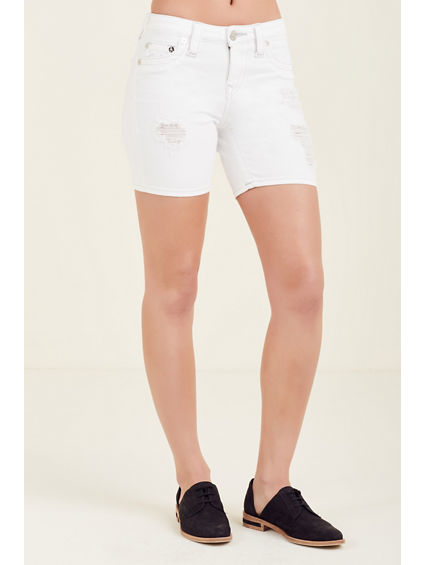 CURVY WHITE RIPPED WOMENS SHORT