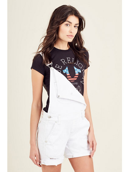 OVERALL WHITE FLAP RIPPED WOMENS SHORT