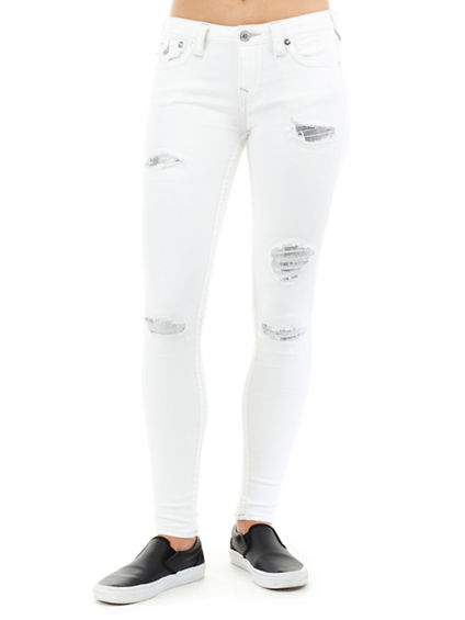WOMEN'S SUPER SKINNY FIT SEQUINED DISTRESSED JEAN