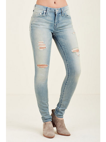 WOMEN'S CURVY SKINNY FIT RIPPED JEAN