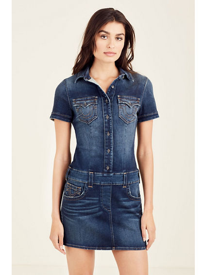 DENIM WOMENS MINI DRESS