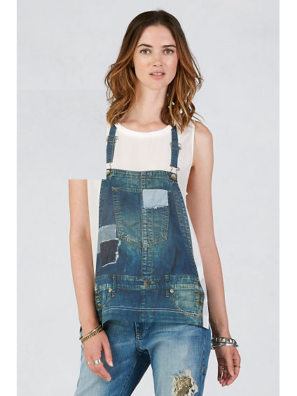 DENIM PRINTED SILK WOMENS TANK