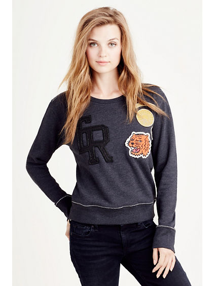 PATCH WORK WOMENS SWEATSHIRT