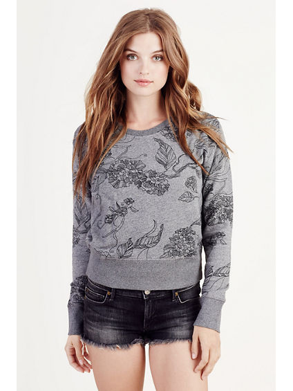 FLORAL PRINT WOMENS PULLOVER