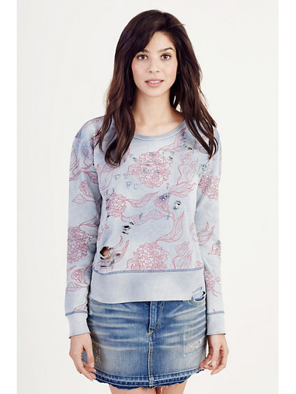 FLORAL DISTRESSED WOMENS SWEATSHRT