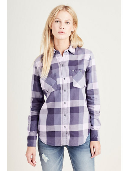 PLAID UTILITY  WOMENS SHIRT