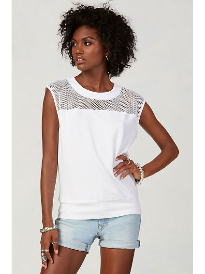 MESH SLEEVELESS WOMENS SWEATSHIRT
