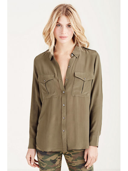 SOLID MILITARY WOMENS SHIRT