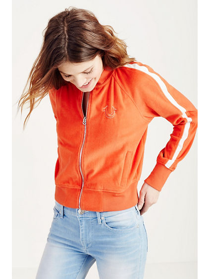 CONTRAST ZIP UP WOMENS TRACK JACKET