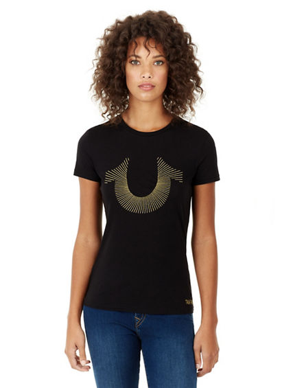 WOMENS EMBROIDERED HORSESHOE GRAPHIC TEE
