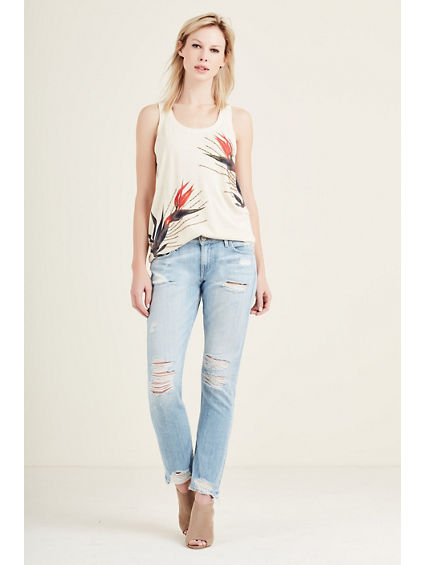EMBELLISHED PALM WOMENS TANK
