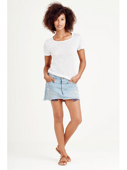 WOMENS MULLET HEM MINI SKIRT