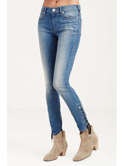HALLE SUPER SKINNY CROPPED ANKLE LACE UP WOMENS JEAN