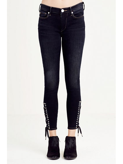 SUPER SKINNY LACE UP CROPPED WOMENS JEAN