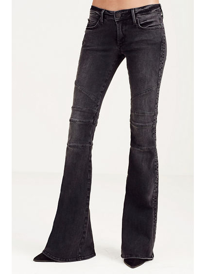 KARLIE LOW RISE BELL BOTTOM MOTO WOMENS JEAN