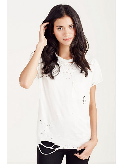 DISTRESSED POCKET WOMENS TEE