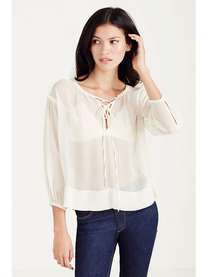 LACE UP WOMENS PEASANT TOP