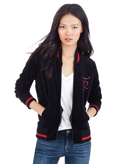 VELOUR BOMBER WOMENS JACKET