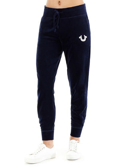 CRYSTAL HORSESHOE VELOUR WOMENS JOGGER