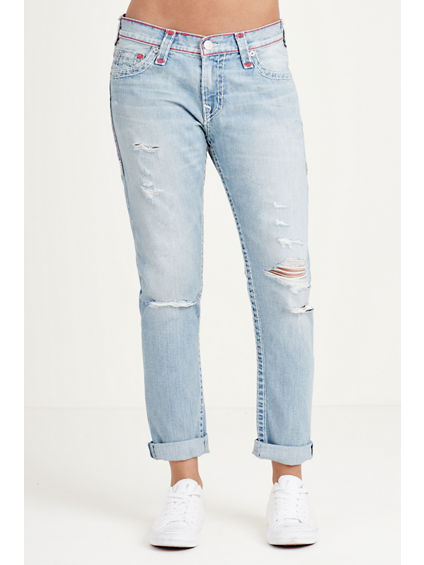 AUDREY RIPPED SLIM BOYFRIEND SUPER T WOMENS JEAN