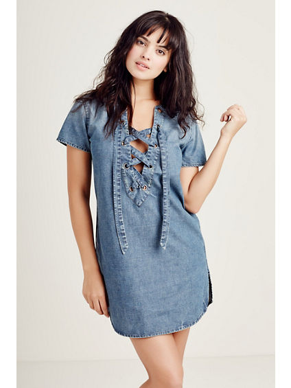 SHORT SLEEVE LACE UP WOMENS TUNIC