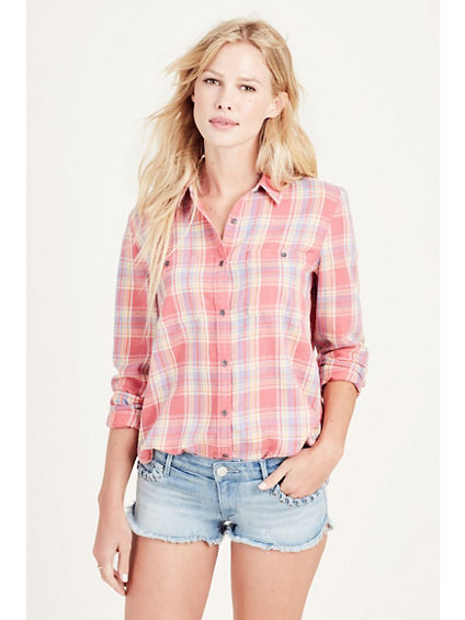 SHIRRED BACK UTILITY WOMENS SHIRT