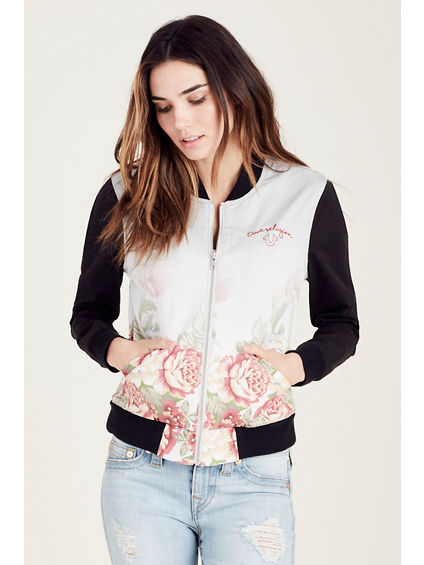 FLORAL BOMBER WOMENS JACKET