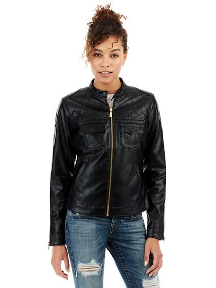 VEGAN LEATHER QUILTED MOTO WOMENS JACKET