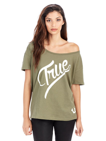 TRUE SCRIPT OFF SHOULDER WOMENS TEE