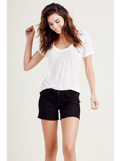 MID CUT OFF BLACK WOMENS SHORT