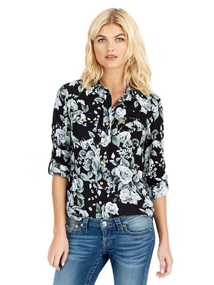 SLIM WESTERN METAL HORSESHOE WOMENS SHIRT