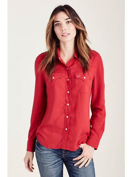 SLIM WESTERN CRYSTAL LOGO WOMENS SHIRT