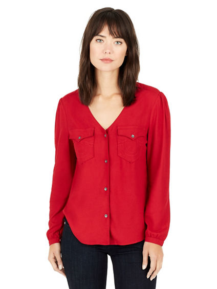 V NECK BUTTON DOWN WOMENS SHIRT
