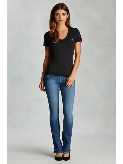 HANDPICKED BOOTCUT CRYSTAL LOGO WOMENS JEAN