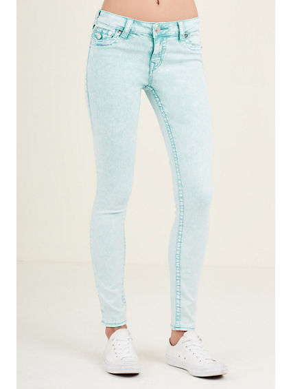 SUPER SKINNY FLAP TEAL WOMENS JEAN