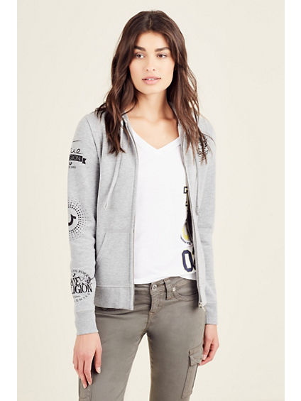 PATCH ZIP UP WOMENS HOODIE