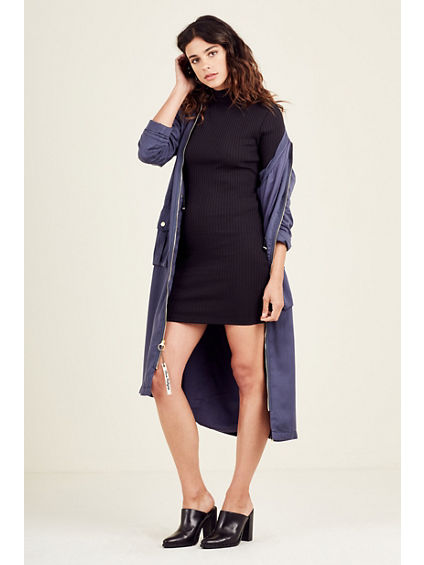 WOMENS RIBBED MOCK NECK SWEATER DRESS