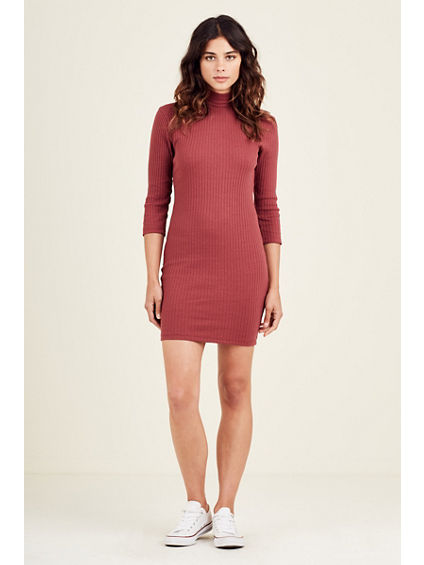 RIBBED MOCK NECK WOMENS BODYCON SWEATER DRESS