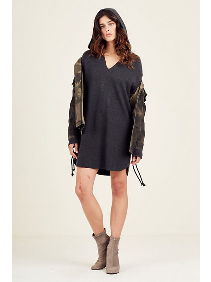 WOMENS GROMMET HOODIE DRESS