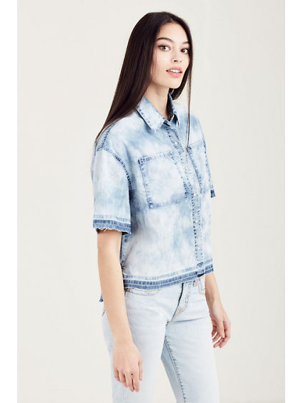 BUTTON FRONT CROPPED WOMENS SHIRT