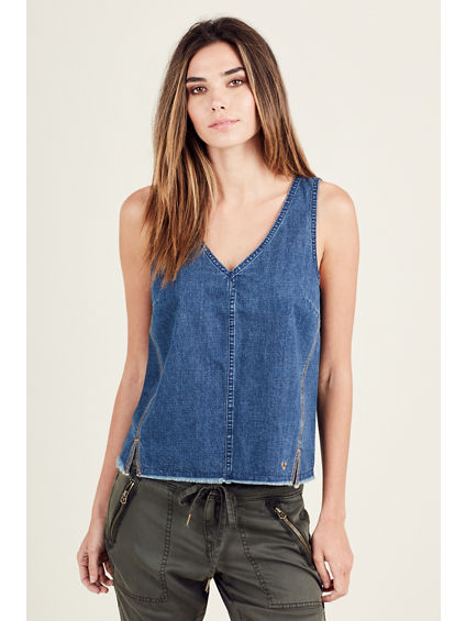 INDIGO RAW EDGE WOMENS TOP