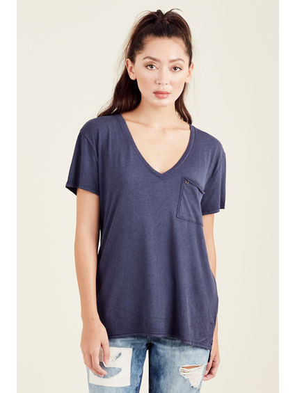 SLOUCHY V NECK WOMENS TOP