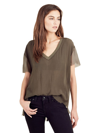 SHEER GEORGETTE CREW NECK WOMENS TOP