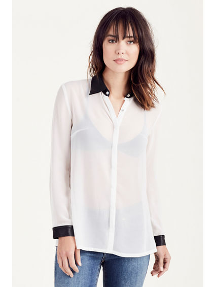 PLEATED LEATHER COLLAR  WOMENS SHIRT