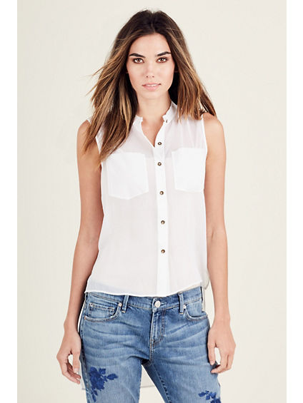 WOMENS HIGH LOW BUTTON UP SHIRT