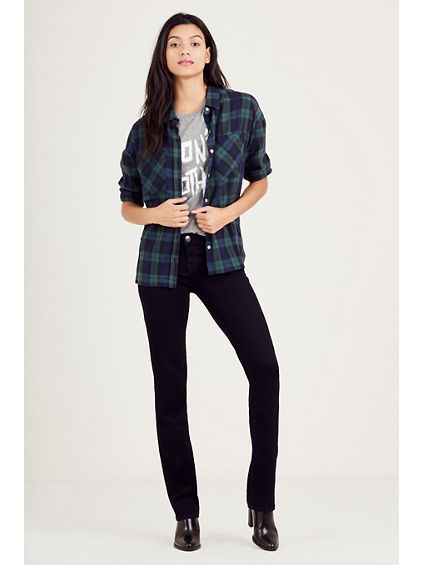 DROP SHOULDER PLAID WOMENS TOP