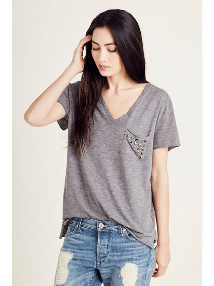 STUDDED POCKET WOMENS TEE
