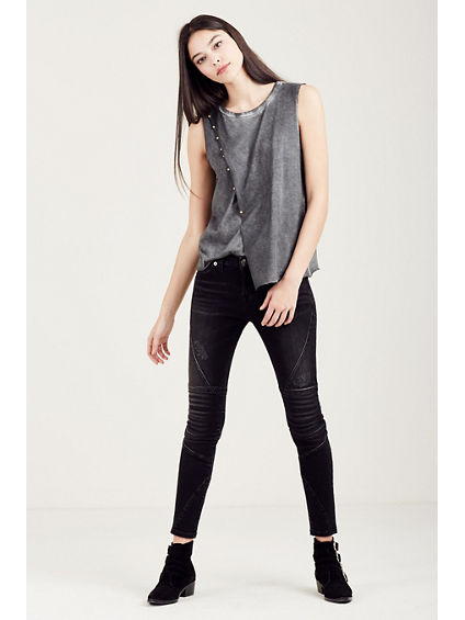 ASYMETRICAL WOMENS STUDDED TANK
