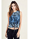 PALM PRINT TIE FRONT WOMENS TEE