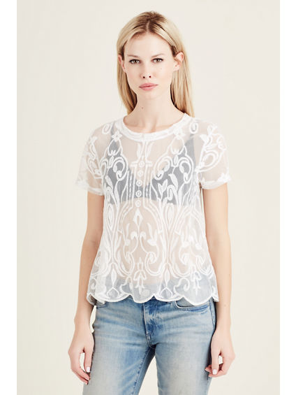 CREW NECK LACE WOMENS TOP